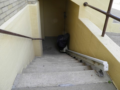 TO ACCESS LOWER LEVEL OF PARISH HALL